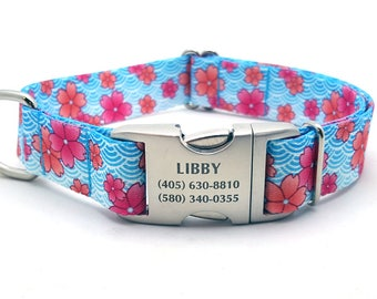 APRIL BLOSSOMS Polyester Webbing Dog Collar with Laser Engraved Personalized Buckle - PINK