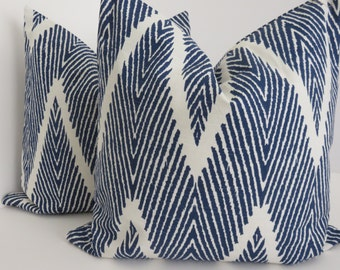 Chevron Pillows,Pillow Covers,Blue And White Pillows, Zig Zag Pillow, Decorative Pillow Covers, Ikat Pillow, Lacefield Bali Pillow Cover