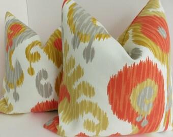 Outdoor/Indoor Pillow Covers- Orange Yellow Cream Pillow Covers- Outdoor Orange Pillows- Yellow Outdoor pillows- Outdoor pillow Covers-