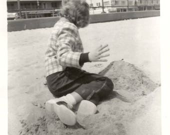 "Vintage Snapshot ""No, Pictures Please!"" Saddle Shoes Sand Castle Beach Found Vernacular Photo"