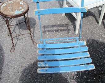 Vintage French Bistro Folding Chair Garden Chair Wood Slats Metal Frame Shabby Chic Café Rare 1 0f 6