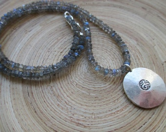"""Ongkara om and labradorite necklace 18"""" yoga necklace with fine silver Hill Tribe om and faceted labradorite necklace"""