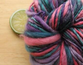 80's Prom - Handspun Yarn Wool Bulky Pink Purple Teal