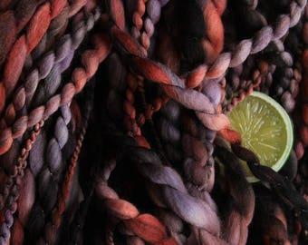 Rare - Fat Bulky Wool Art Yarn Handspun Purple Red Black Thread Plied