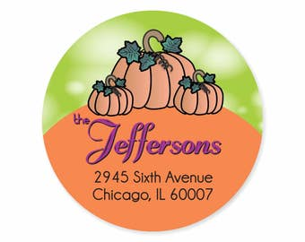 Pumpkin Fall Personalized Address Labels Stickers / Happy Fall / Autumn