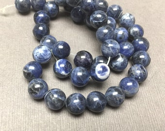 Sodalite Round Beads. Blue. Black. Opaque. Gemstone Beads. Center Drilled. 8mm. Full 14 Inch Strand.