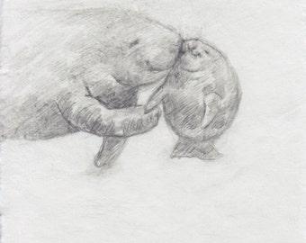 Original Sketch 'Dugong Love'