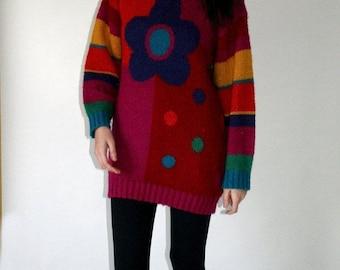 ON SALE 20% off vintage Oversized Neon Sweater Novelty metallic Pink Orange Blue Green Size Medium to large Acrylic 1990s