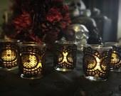 Set of 5 Black Lace Votive Candle Holders, Wedding Candle Holders, Home Decor Candle Holders