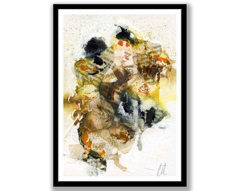 Brown, yellow and black abstract // Original one of a kind art work // Abstract Ink Painting // Wall Art // Office Art // Corporate Art