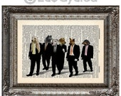 SALE Reservoir Dogs with Dogs on Vintage Upcycled Dictionary Art Print Book Art Print Amazing Animalia Movie book lover art cult classic