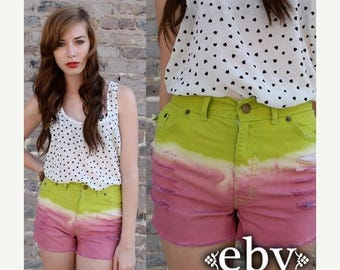 Cut off Shorts Festival Shorts Hippie Shorts Hippy Shorts Vintage High Waisted Lime Green & Pink FESTIVAL Cut Off SHORTS