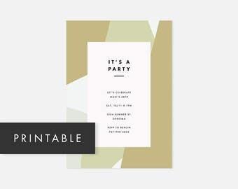 Simple Printable Invite / Minimalist Modern Printable Invitation / Color Block / Bright Green / Adult Birthday Party, Graduation Party
