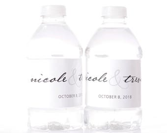 """60 Calligraphy Wedding Water Bottle Labels - Wedding Favors - Need a different quantity? Click on the """"choose total"""" tab to see all pricing"""