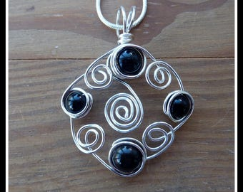 Black Onyx Pendant, wire wrapped in Silver, with chain