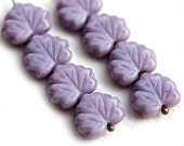 Czech glass leaves, Purple Violet Lilac Maple leaf beads - 11x13mm - 10Pc - 1038