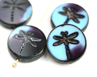 4pc Dark Blue Dragonfly beads, Picasso finish, czech glass table cut beads, round tablet shape blue glass bead - 17mm - 2593