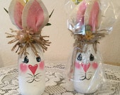 Bunny  UpCycledJar. Easter  Decor Country Home Bunny  Lover Housewarming Gift Prim Easter Bunny Jar Country Kitchen Burlap Decor Holiday