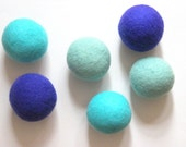 Wool dryer balls, set of 6 ocean blue-greens.100% wool, large wool dryer balls. Eco friendly natural laundry care. Replaces dryer sheets.
