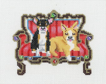 Hand Painted Needlepoint Dog Canvas - Two Chihuahuas