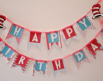 Dr Seuss Birthday Banner - Cat in the Hat Birthday Banner - First Birthday - Birthday Party Decor - Dr Seuss Birthday - Party Decor