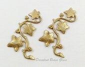 Raw Brass Leaves, Brass leaf Vine, Leaf Stamping, 23mm x 41mm - 2 pcs. (r159)