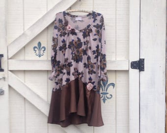 Hippie tunic dress, M gray floral brown upcycled Boho tunic, rustic clothing