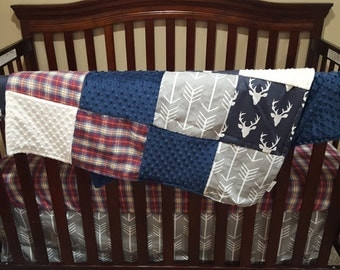 Baby Boy Crib Bedding - Buck Deer, Gray Arrows, Lodge Red Navy Plaid, Ivory Minky, and Navy Minky Crib Bedding Ensemble