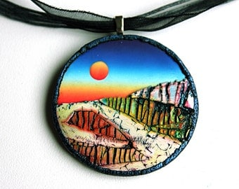 Polymer Clay Pendant, Landscape pendant, OOAK jewelry, surreal pendant, handmade pendant, DIY pendant, contemporary jewelry, wearable art.
