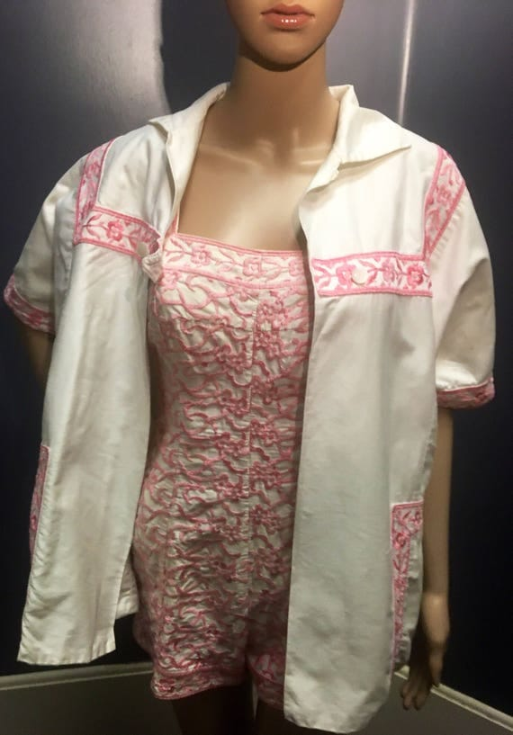 Vintage 1950s Jantzen Swiss Design  Cotton Pink and White Embroidered Bathing Suit and Cover Small