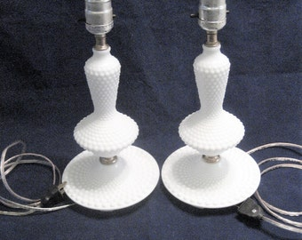 Pair of Fenton White Milk Glass Hobnail Dresser or Night Stand Lamps Vintage 1960s Boudoir Lamps