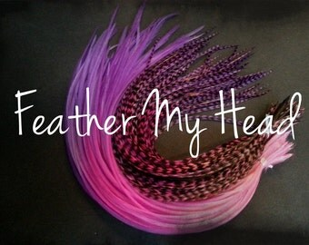 "Feather Hair Extensions - Multi Color Medium Length 7"" - 9"" (18-23cm) Long - 5 Pc - Pink Purple - Taffy Twist"