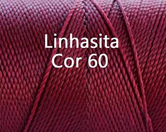 Linhasita Burgundy Cor 60 Waxed Polyester Cord/ Hilo/ Spool/ Spring