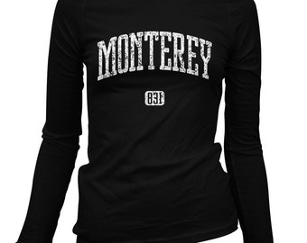 Women's Monterey 831 California Long Sleeve Tee - S M L XL 2x - Ladies' T-shirt, Gift For Her, Monterey County Shirt, Salinas, Seaside, Cali