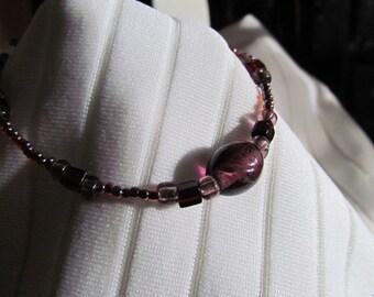 Amethyst and Dark Topaz Glass Bead Bracelet