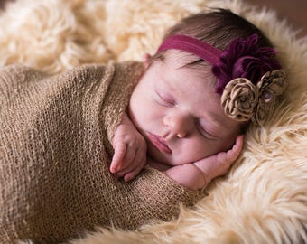 Baby Girl Headband...Trio Headband...Baby Headband...Taupe and Plum Headband...Baby Headband...Photography Prop...