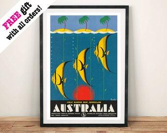 GREAT BARRIER REEF: Vintage Poster, Australia Fish Travel Advert Art Print