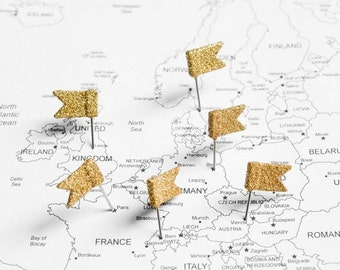 Gold Glitter Flag Map Pins. Fancy Home Office Wall Decor for World Travel Maps, Wedding Decoration, Cork Board Jewelry Organizers. Set of 10