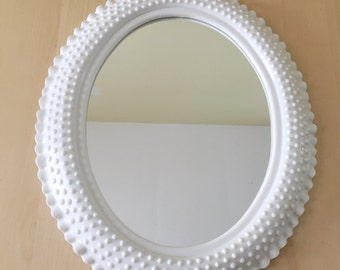 Vintage Oval Hobnail White Mirror Milk Glass Effect Burwood Products