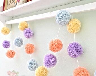 Pom Pom Garland, Birthday Garland, Baby Shower, Yarn Pom Pom Banner, Nursery, Bridal Shower Garland + Cream  + Lavender + Baby Blue