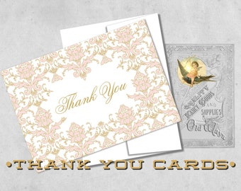 Pink and Gold Thank You Cards - Elegant Damask Folding Thank You Notes - Baby Shower, Bridal Shower, Baptism - White or Cream with Envelopes
