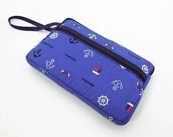 Nautical zipper pouch, Wristlet wallet, Cosmetic bag, Cell phone bag, iPhone wallet case, Cotton zipper clutch, Blue clutch