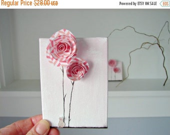 CLEARANCE SALE Pink Chevron Decor-Mixed Media 3D Art-Spiral Paper Flowers with a Little Kitty Cat-Gift for Her, Nursery Art, Home Wall Decor