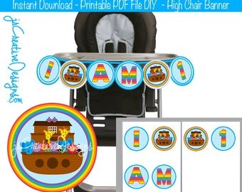 Noah's Ark Birthday Noah's Ark Party Noah's Ark Highchair Banner Noah's Ark High chair Banner I am 1 or I am 2 2nd or 1st Birthday Boy Girl