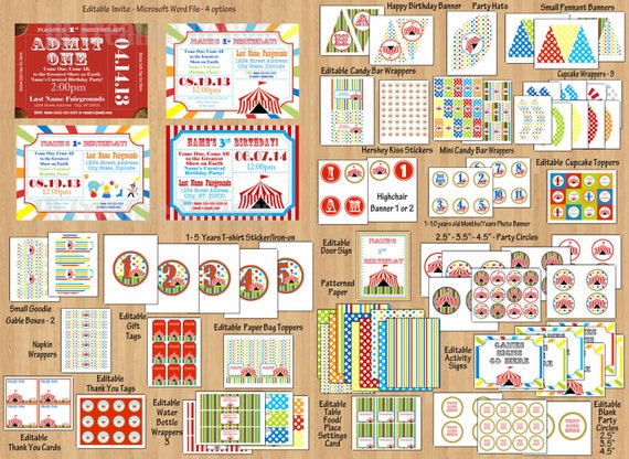 Carnival Birthday Party Package, Circus Birthday Party Package Circus Invitation Banners 1st Birthday Party invite Any Age - Editable Files