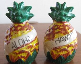 HOLIDAY SALE Vintage 40s Hawaiian Aloha Ceramic Novelty Pineapple Souvenir Salt & Pepper Shakers