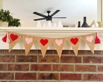 Valentines Day Banner - Valentine Decor - Heart Banner - Valentine Photo Prop - Valentine Garland - Valentines Day Bunting - Burlap Banner