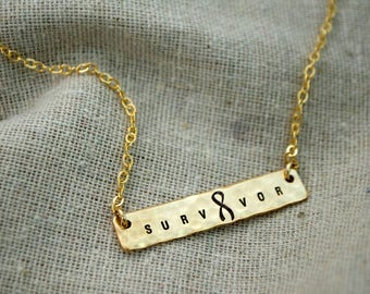 Inspirational Survivor Necklace - Hand Stamped - Custom - Personalized