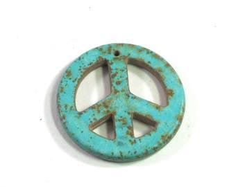 Magnesite Stone Peace Sign, 34mm, Turquoise Blue Green, Stone Pendant, Brown Matrix Lines, Retro Pendant, Hippie Pendant, Crafting Supply
