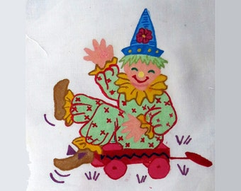 Vintage Tri Chem Project, Partially Painted Quilt Blocks, Clown Quilt Blocks, Liquid Embroidery, Tri-Chem, Fabric Painting, Old Clowns, DIY